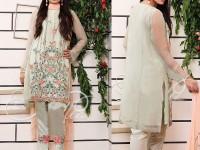 Elegant Embroidered Mint Green Net Dress in Pakistan