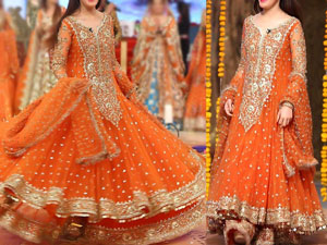 Embroidered Chiffon Orange Maxi Dress in Pakistan