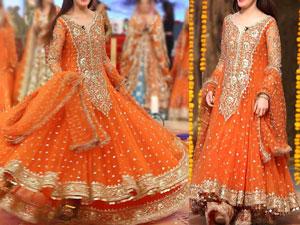 Embroidered Chiffon Orange Maxi Dress in Pakistan