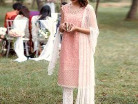 Cutwork Embroidered Pink Net Dress in Pakistan
