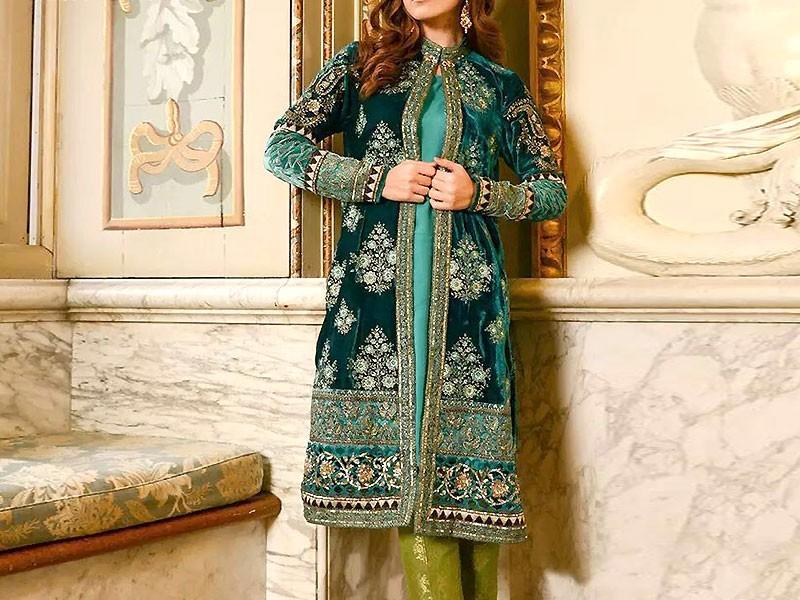 Heavy Embroidered Green Velvet Wedding Dress in Pakistan