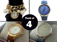 Pack of 4 Ladies Fashion Watches Price in Pakistan