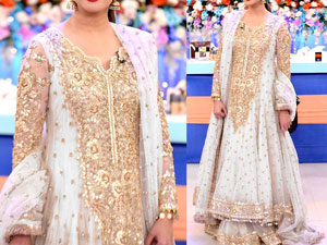 Embroidered Chiffon White Maxi Dress in Pakistan