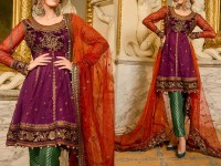 Embroidered Net Dress with Jamawar Trouser in Pakistan