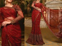 Maroon Net Embroidered Saree in Pakistan