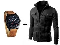 Men's Fleece Jacket & Curren Watch in Pakistan