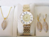 Golden Jewellery & Watch Gift Set in Pakistan