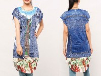 Digital Print Sleeveless Kurti with Tights