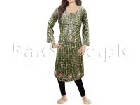 Leopard Print Embroidered Cotton Kurti with Tights in Pakistan