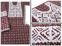 3-Pieces Ajrak Design Handicraft Aplic Work Cotton Suit in Pakistan