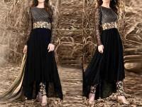 Embroidered Black Chiffon Maxi Dress in Pakistan