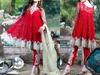Trendy Embroidered Red Chiffon Dress in Pakistan
