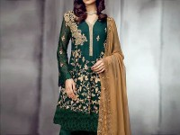 Designer Embroidered Green Chiffon Dress in Pakistan