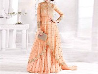 Indian Embroidered Peach Chiffon Maxi Dress in Pakistan
