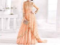 Indian Embroidered Peach Chiffon Maxi Dress in Pakistan