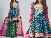 Embroidered Chiffon Bridal Dress with Jamawar Trouser in Pakistan