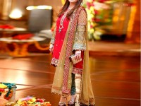Embroidered Red Chiffon Suit with Jamawar Trouser in Pakistan