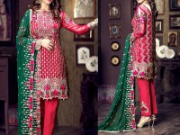 Heavy Embroidered Shocking Pink Chiffon Dress in Pakistan