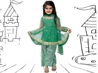 Embroidered Green Net Dress For Kids in Pakistan