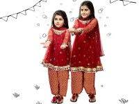 Embroidered Chiffon Red Dress For Kids Price in Pakistan