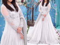 Embroidered White Chiffon Maxi with Silk Trouser in Pakistan