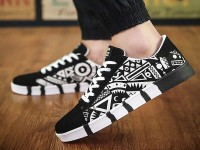 Black & White Pattern Design Casual Shoes in Pakistan