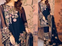 Embroidered Navy Blue Chiffon Dress in Pakistan