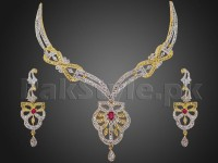 Elegant AD Stone Necklace with Earrings in Pakistan
