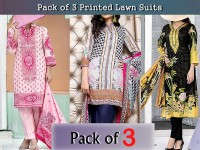 Pack of 3 Printed Lawn Suits with Lawn Dupatta Price in Pakistan