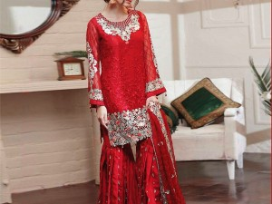 Embroidered Chiffon Red Dress with Silk Trouser Price in Pakistan