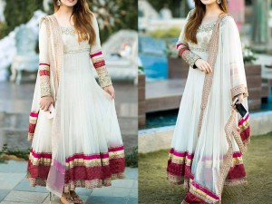 Embroidered White Chiffon Maxi Dress in Pakistan