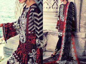 Embroidered Lawn Suit with Lawn Net Dupatta Price in Pakistan
