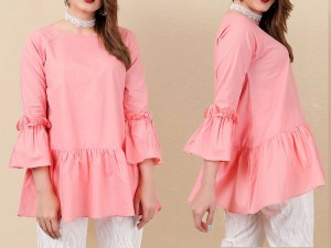 Boski Linen Butterfly Frill Top - Pink Price in Pakistan