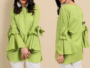 Boski Linen Butterfly Frill Top - Green Price in Pakistan