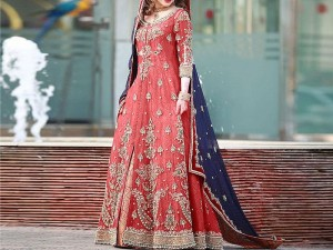 Embroidered Chiffon Bridal Maxi Dress Price in Pakistan