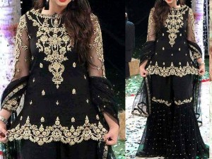 Embroidered Black Chiffon Suit Price in Pakistan