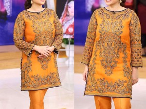 Heavy Embroidered Orange Color Net Dress Price in Pakistan