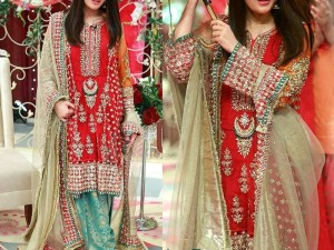 Embroidered Chiffon Bridal Suit with Jamawar Trouser Price in Pakistan