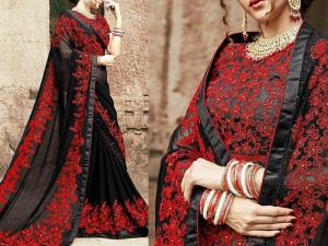 Indian Embroidered Black Chiffon Saree Price in Pakistan
