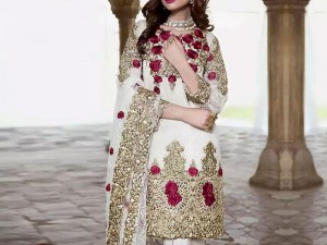 Designer Embroidered White Chiffon Dress with Chiffon Dupatta