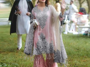Designer Embroidered Pink Net Dress Price in Pakistan