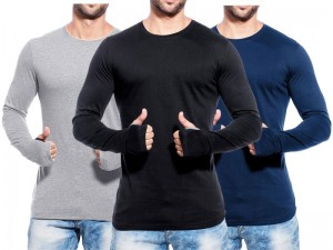 Pack of 3 Round Neck Full Sleeves T-Shirts Price in Pakistan