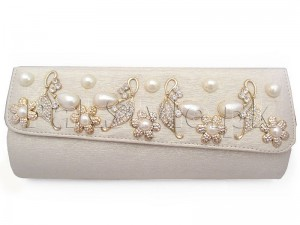 Luxury Pearls Attached Evening Clutch Bag - White Price in Pakistan