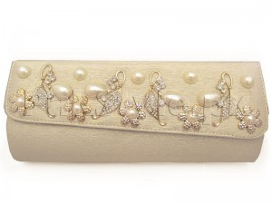 Luxury Pearls Attached Evening Clutch Bag - Golden Price in Pakistan