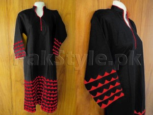 Black Applique Work Ready-to-Wear Cotton Kurti Price in Pakistan