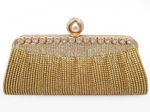 Fancy Golden Bridal Clutch Bag