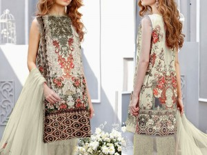 Embroidered Lawn Dress with Net Dupatta Price in Pakistan
