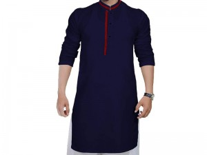 Men's Readymade Wash-N-Wear Kurta - Navy Blue Price in Pakistan