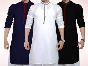 Pack of 3 Men's Readymade Wash-N-Wear Kurtas Price in Pakistan