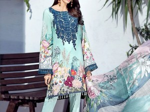 Embroidered Lawn Suit with Printed Lawn Dupatta Price in Pakistan